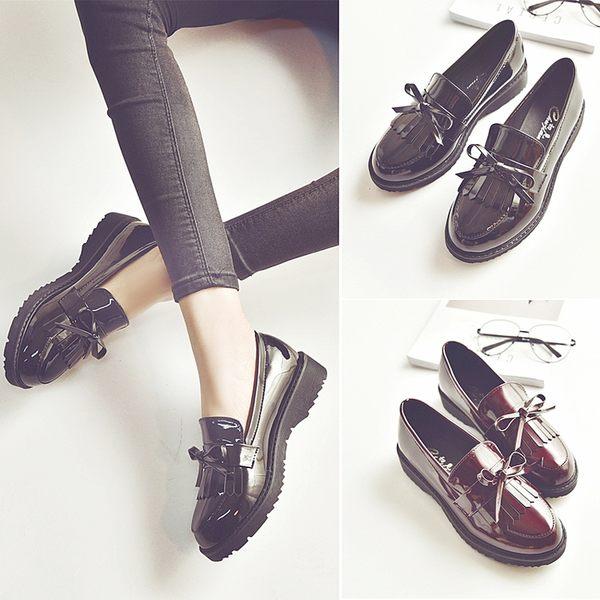 正韓流蘇小皮鞋女牛津女鞋平底樂福鞋蝴蝶結單鞋漆皮復古低跟女鞋
