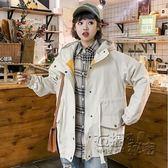 春秋新款韓版學院風BF寬鬆連帽大口袋風衣女學生中長款外套潮 衣櫥秘密