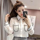 新款女裝韓版白色透視蕾絲寬鬆襯衫女長袖襯衣打底上衣潮   俏女孩