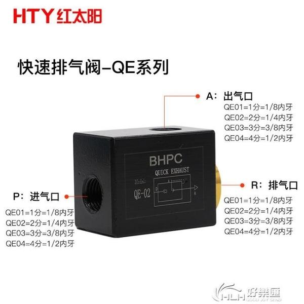BHPC氣動排氣閥QE-02/03/04分快排閥快速排氣閥急排閥放氣閥配件 好樂匯