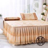 防滑夏季蕾絲床裙式床罩單件韓版純色花邊1.5m1.8x2.0*2.2米床套  ~黑色地帶