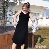 大尺碼洋裝裝背心裙2019新款微胖妹妹吊帶連身裙子春夏zt1168 【黑色妹妹】
