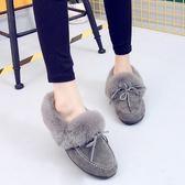 低筒雪靴-時尚磨砂保暖蝴蝶結女平底靴子3色73kg76[巴黎精品]