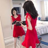 夜店裝性感韓版夏季時尚V領荷葉邊修身收腰洋裝女裝新款潮提拉米蘇