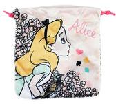 【卡漫城】 愛莉絲 束口袋 花鳥粉 ㊣版 絨毛 收納袋 萬用包 相機手機袋 愛麗絲 夢遊仙境 Alice