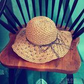 草帽沙灘帽子韓版女士夏天太陽帽鏤空遮陽帽可折疊涼帽海邊大檐帽     俏女孩