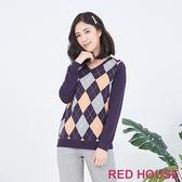 RED HOUSE-蕾赫斯-菱格紋針織衫(紫色)