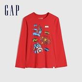 Gap男童 Gap x Marvel 漫威系列漸層風格圓領長袖T恤 657912-紅色