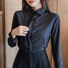 大碼襯衫 2021秋冬黑色襯衫女長袖職業裝工作服大碼打底衫氣質白襯衣防走光 歐歐