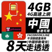 【TPHONE上網專家】中國移動 8日 4GB大流量 4G高速上網 香港可用 不須翻牆 FB/LINE直接用