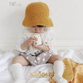 兒童毛線帽秋冬兒童針織毛線帽子男女寶寶0-2歲保暖蕾絲系帶盆帽
