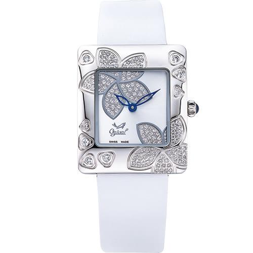 Ogival 瑞士愛其華 花漾馨語珠寶腕錶-白