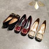 方頭鞋春平底單鞋女淺口低跟方扣粗跟奶奶鞋歐美矮跟上班工作鞋黑色 科炫數位