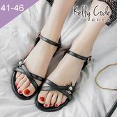 大尺碼女鞋-凱莉密碼-夏日浪漫珍珠五芒星真皮平底涼鞋2cm(41-46)【YG4058】黑色