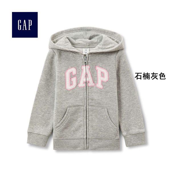 Gap女嬰幼童 logo連帽休閒外套 寶寶長袖刷毛童裝 259444-石楠灰色