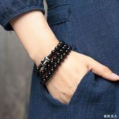 水晶黑曜石手鏈多層韓版手鏈女黑色佛珠情侶手串簡約時尚飾品 XW580【極致男人】