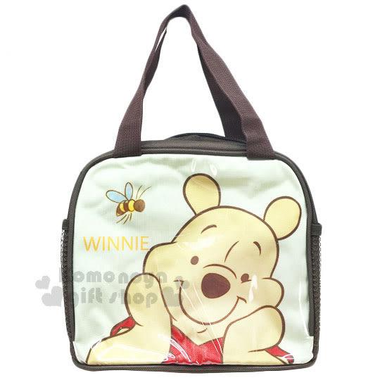 〔小禮堂〕迪士尼 小熊維尼 方形手提便當袋《黃棕.微笑捧臉.蜜蜂》方便攜帶 4713549-00005