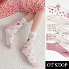 OT SHOP[現貨]襪子 微透膚網眼中筒襪 女款 棉質 千鳥格子 草莓 小碎花 草莓兔兔 粉色人字紋 M1129