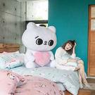 床包被套組 / 單人【粉紅戀愛款-爽爽貓的熱戀】含一件枕套  100%精梳棉  戀家小舖台灣製AAL112