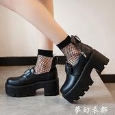 黑色chic小皮鞋女英倫2019春季新款日系學院風cosplay厚底鬆糕鞋 聖誕節全館免運