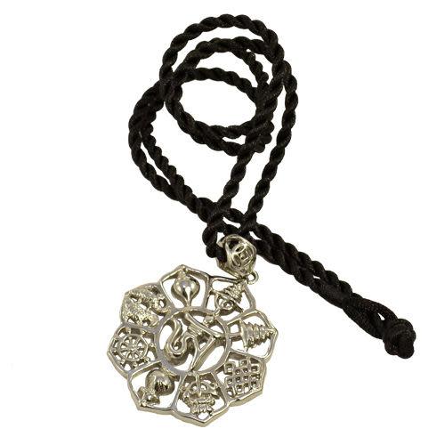 【藏傳佛教文物】八吉祥佛身吉祥-鋼合金質感飾鍊 手鍊 吊鍊 掛件/吊墜/護身符(PB-N0007)