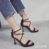 高跟涼鞋女細跟新款百搭網紅綁帶仙女風一字扣帶中跟羅馬鞋 QQ29641『MG大尺碼』
