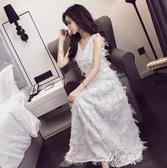 小禮服顯瘦高挑女V領無袖流蘇羽毛長裙洋裝晚禮服夏伊芙莎 現貨清倉1-16
