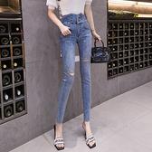 重工燙鉆九分牛仔褲女多扣高腰顯瘦緊身小腳褲H300依佳衣