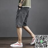 條紋牛仔褲男夏季薄款寬鬆彈力五分短褲男士潮流鬆緊腰無鐵5分褲 海闊天空