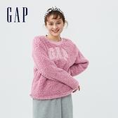 Gap女裝 Logo仿羊羔絨圓領休閒上衣 655689-粉色