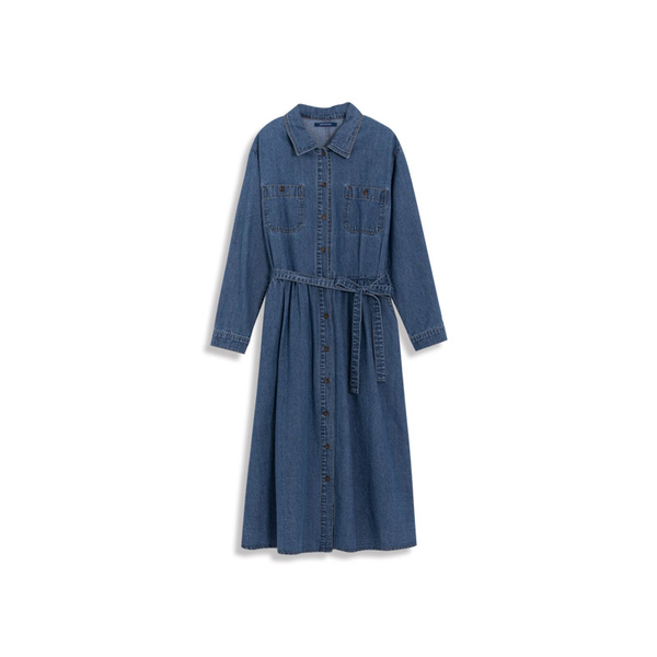 Queen Shop【01084714】復古刷色雙口袋造型長袖牛仔洋裝*現+預*