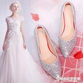 新款水晶高跟鞋細跟十八歲公主婚鞋女新娘鞋銀色單鞋子伴娘鞋 時尚芭莎