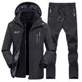 防風外套男女三件套登山外套【M-3XL】防風防水登山套裝【BX-2-35】