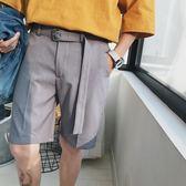 @第八家店鋪 夏款鋼扣腰帶裝飾免燙垂感西裝短褲男簡約時尚休閒褲  巴黎街頭