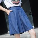 五分牛仔褲 天絲牛仔褲女夏季新款大碼鬆緊腰寬鬆闊腿褲裙短褲中褲五分褲 韓菲兒