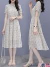 熱賣雪紡洋裝 碎花短袖連身裙女2021年夏季新款韓版小個子顯瘦氣質雪紡夏天長裙 coco