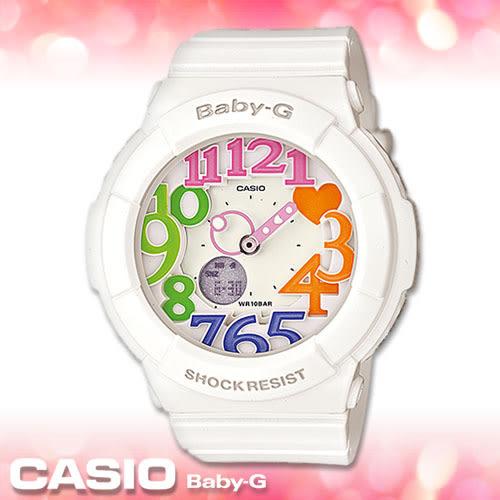 CASIO卡西歐 手錶專賣店  Baby-G BGA-131-7B3 全白彩色數字 女錶 霓虹立體數字造型 雙顯錶 防水