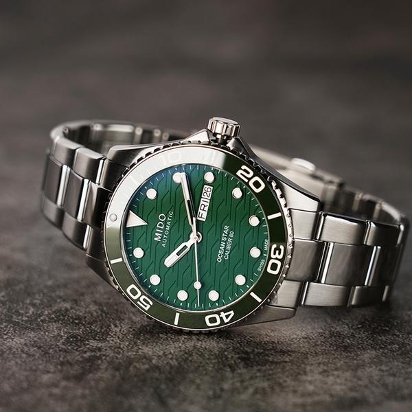 MIDO 美度 Ocean Star 200C 廣告款 海洋之星陶瓷潛水錶-綠/42.5mm M0424301109100