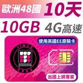 【TPHONE上網專家】 歐洲全區48國10GB超大流量高速上網卡 支援4G高速 10天
