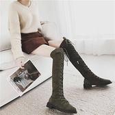 機車馬丁靴女春季2020新款英倫風過膝靴長筒高筒靴繫帶瘦瘦靴子女