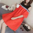 ★現貨★洋裝 露肩配色假兩件短袖洋裝(紅) 小豬兒 Mini Jule 【YBA81000809】現貨