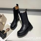 網紅MONA同款馬丁靴春夏新款短靴圓頭切爾西靴粗跟中筒機車靴女潮