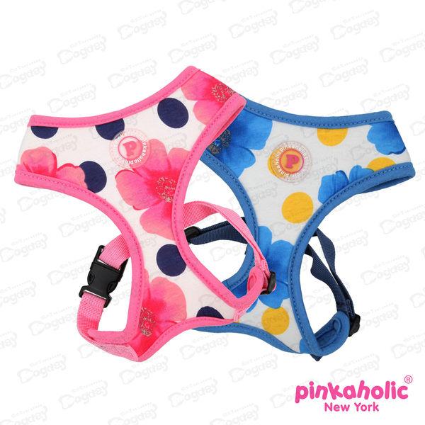 紐約《Pinkaholic》牡丹胸背A款附《同款設計牽繩》完美搭配高價值 L號桃紅/藍綠/海軍藍 胸背帶項圈