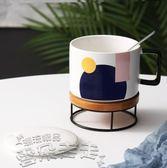 聖誕禮物情侶對杯陶瓷大容量帶蓋勺馬克杯辦公室咖啡杯情侶對杯簡約早餐杯 雲朵走走
