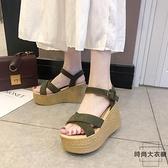 高跟涼鞋女夏坡跟防水臺松糕厚底一字帶羅馬鞋~ 大衣櫥~