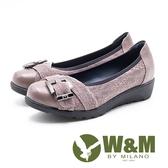 W&M 方釦裝飾雷絲拼接厚底娃娃鞋 女鞋 -   灰(另有黑)