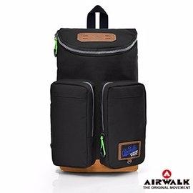 Backbager 背包族【美國 AIRWALK】動感星球系列 繽紛雙口袋兩用包/後肩包/後背包/休閒包_黑色