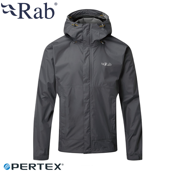 【RAB 英國 男 Downpour防水外套《石墨灰》】BQWF61/防風外套/連帽外套/防水夾克