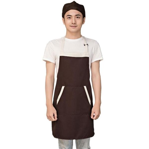 餐飲咖啡廳奶茶店美甲美容超市工作服定做長款圍裙女定制logo印字 草莓妞妞