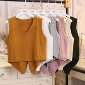 春秋季新款毛衣馬甲女學生針織背心學院風短款無袖坎肩毛線衫馬甲 免運